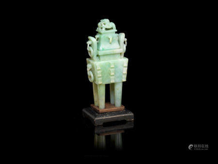 A jadeite incense burner and cover, fangding (3)