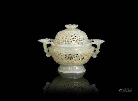A reticulated green jade 'lotus' incense burner 18th/19th century (3)