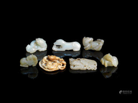 A group of seven jade animal carvings Ming Dynasty and later (7)
