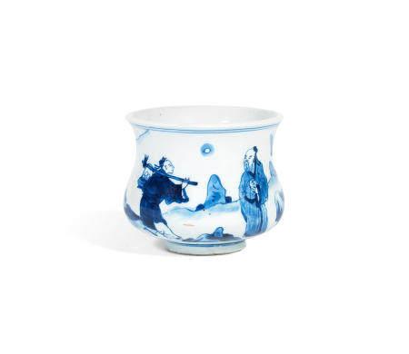 A Blue and White Deep incense burner Kangxi