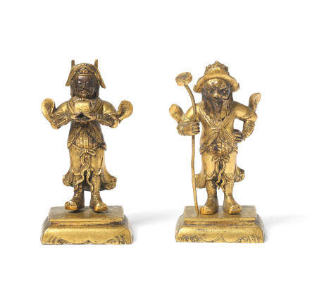 A pair of gilt-bronze figures of Zhou Cang and Guan Ping 18th century (2)