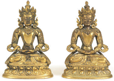 A pair of gilt-bronze figures of Amitayus Tibet,18th/19th century