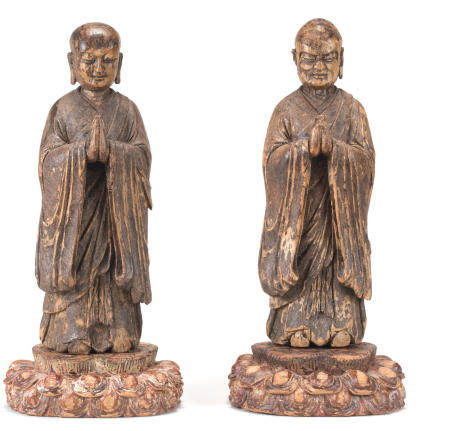 Two wood figures of Ananda and Kasyapa Ming Dynasty or earlier (2)