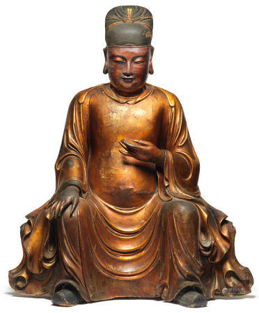 A rare and large gilt-lacquered wood figure of Wenchang 17th century  (2)