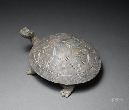 A grey pottery tortoise-shaped ink-stone and cover  Han Dynasty (2)