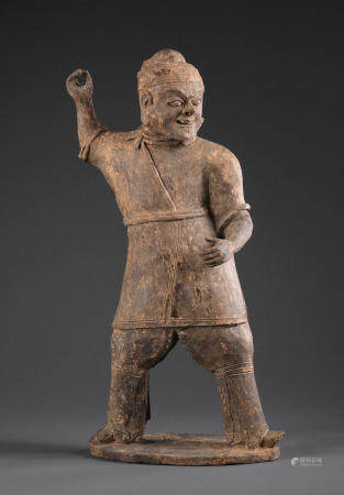 A grey pottery figure of a soldier  Northern Wei Dynasty
