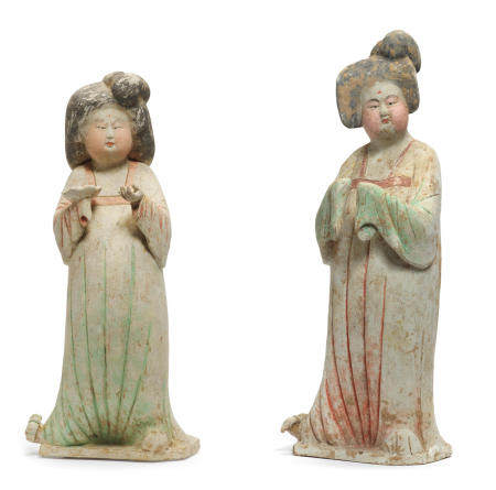 Two painted pottery figures of court ladies   Tang Dynasty (2)