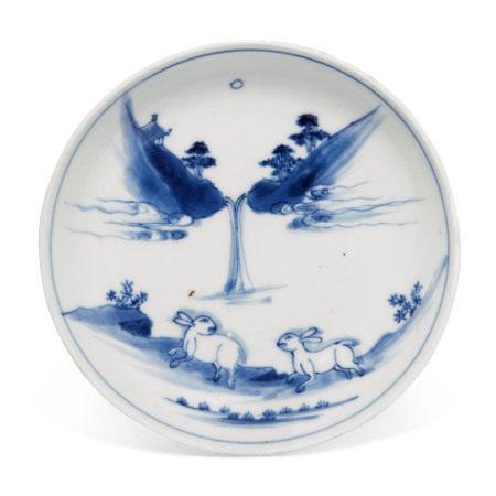 TIANQI PERIOD (1621-1627) 明天启 青花双兔纹盘