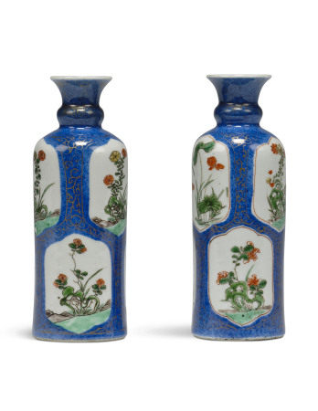 KANGXI PERIOD (1662-1722) 清康熙 洒蓝地开光五彩花卉纹瓶一对