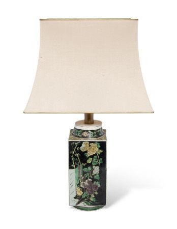 19TH CENTURY 清十九世纪 黑地五彩四季花卉纹琮式瓶