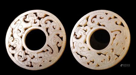 漢代 螭龍紋玉環一對