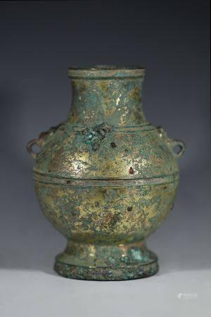 汉代铜鎏金镶银圆瓶
