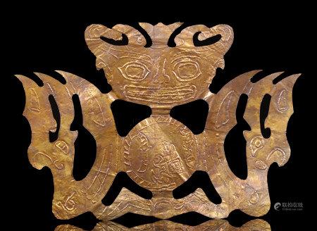 金沙文化純金鳳鳥、獸面金飾