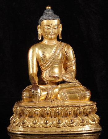 明代 銅鎏金釋迦牟尼佛