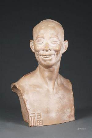 Jean MICH (1871-1919) Buste de Chih Fan Terre cuite patinée