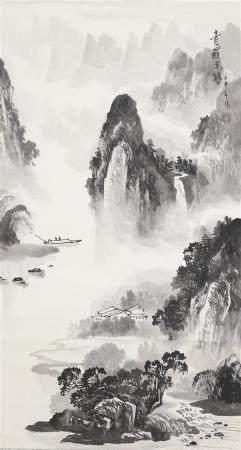 ECOLE CHINOISE (Actif XXe siècle) Paysage taoïste à la riviè