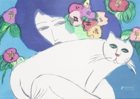 Walasse TING (1929-2010), d'après Femme au chat blanc Sérigr