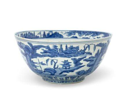 A LARGE BLUE AND WHITE BOWL LATE MING DYNASTY 35 cm diameter