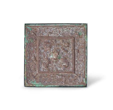 A SILVER-BACKED SQUARE BRONZE MIRROR TANG DYNASTY 8.8 cm