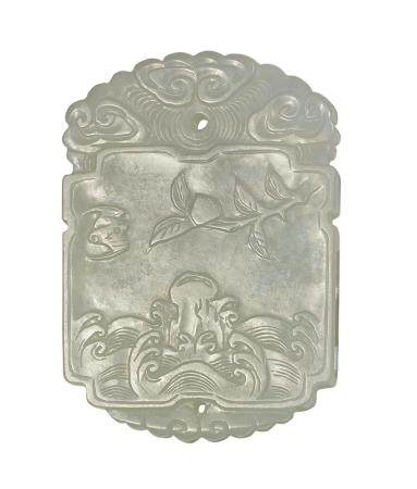 A PALE CELADON JADE 'PEACH AND BAT' PLAQUE QING DYNASTY 6.2