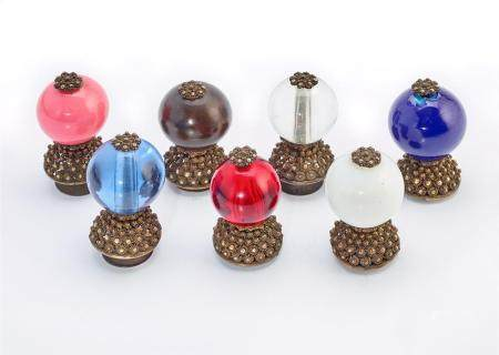 A COLLECTION OF SEVEN MANDARIN HAT BUTTONS QING DYNASTY (7)