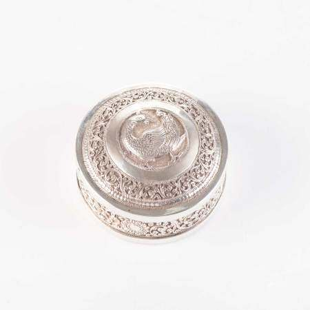 A SMALL INDIAN SILVER BOX AND COVER, POSSIBLY LUCKNOW, EARLY 20TH CENTURY Circular, the domed