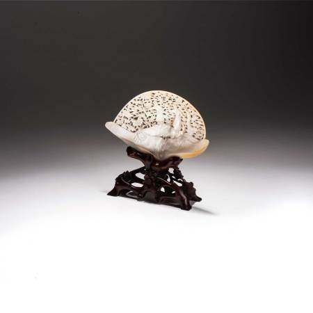 A CHINESE CARVED MOTHER-OF-PEARL SHELL, REPUBLIC PERIOD, 1912 – 1949 NOT SUITABLE FOR EXPORT