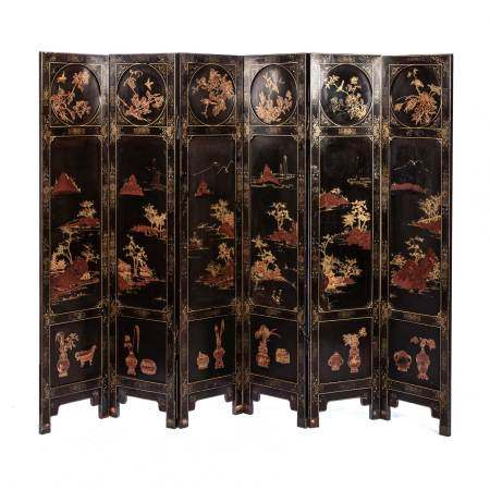 A CHINESE SIX-PANEL GILT LACQUERED FOLDING SCREEN, QING DYNASTY, 19TH CENTURY Each leaf divided into