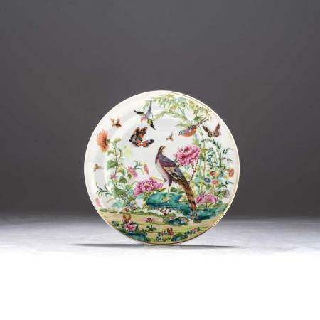 A CHINESE FAMILLE ROSE 'PHEASANT' PLATE, QING DYNASTY, 19TH CENTURY Enamelled with a pheasant