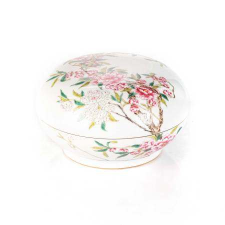 A CHINESE FAMILLE ROSE 'CRAB-APPLE' BOX AND COVER The domed circular cover enamelled with a