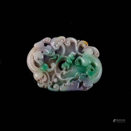 A CHINESE JADEITE 'CHILONG AND LINGZHI' PLAQUE Carved with a pair of coiling Chilong amongst lotus