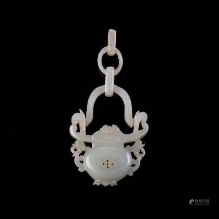 A CHINESE CELADON JADE 'FLOWER BASKET' POMANDER, QING DYNASTY, 19TH CENTURY The basket centred by