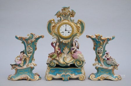 A three-piece porcelain clock set (51cm)