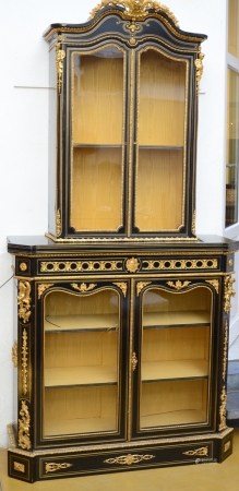 A Napoleon III display cabinet with gilt bronze decoration (40x120x237cm)