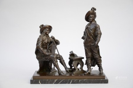 Drouot: bronze statue 'musketeers' (17x44x44cm)