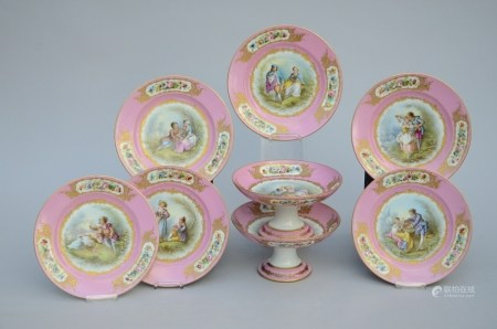 Part of a service in pink SËvres porcelain (6 plates and 2 tazza's) (22x12cm)