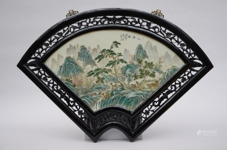 Large fan shaped plaque in Chinese porcelain 'landscape with deer' (70x39cm)