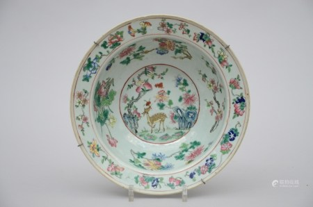 A bowl in chinese famille rose porcelain 'deer' (30x10cm)