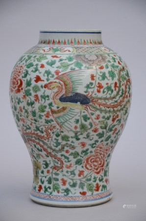 A vase in Chinese Wucai porcelain 'Phoenixes' (*) (37cm)