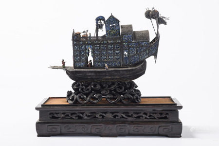 A silver junk in filigreework with enamel, China (12x28x24cm)