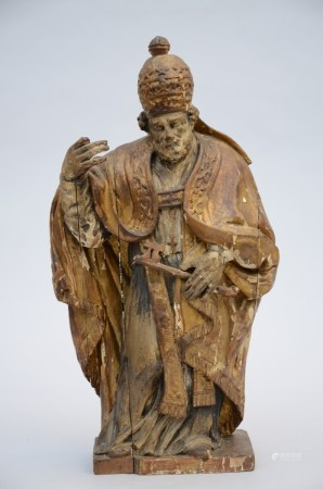Petrus sculpted in wood, with remains of polychromy (17x30x43cm)