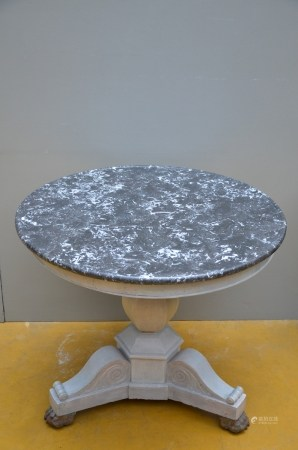 Charles X gueridon in patinated wood with marble top (81x71cm)