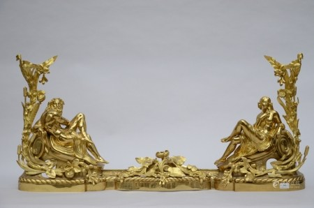 A pair of large gilt bronze fire dogs (55cm)