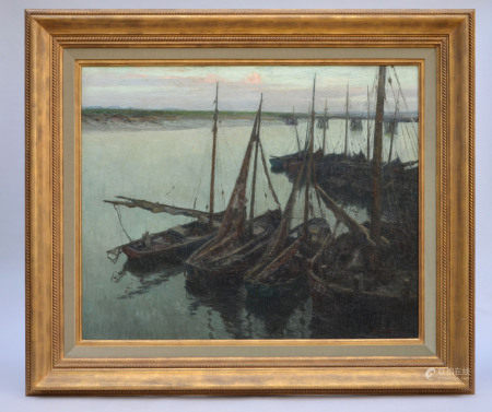 Louis Clesse: painting (o/p) 'Harbour view' (110x92cm)