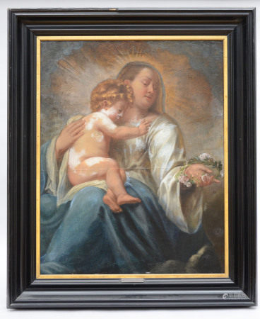 Anonymous (17th century): painting (o/c) 'Madonna and child' (*) (103x80cm)