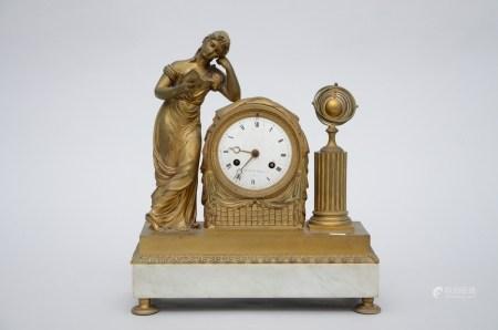 Clock in bronze on a marble base 'liseuse', Le Roy ‡ Paris (*) (12x39x24cm)