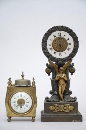 Lot: Charles X clock + alarm clock by Le Roy ‡ Paris (*) (35cm)