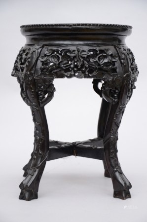 Chinese hardwood tabouret with porcelain plaque (33x46cm)