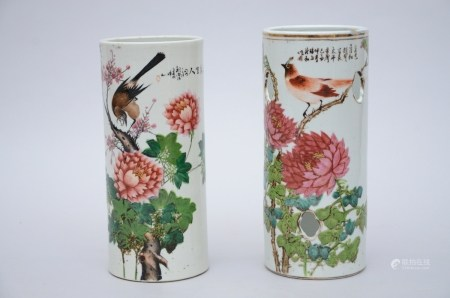 Two hat stands in Chinese porcelain 'birds' (28cm)