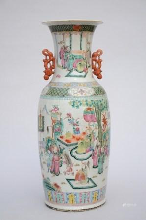 Vase in Chinese famille rose porcelain 'court scene' (61cm)